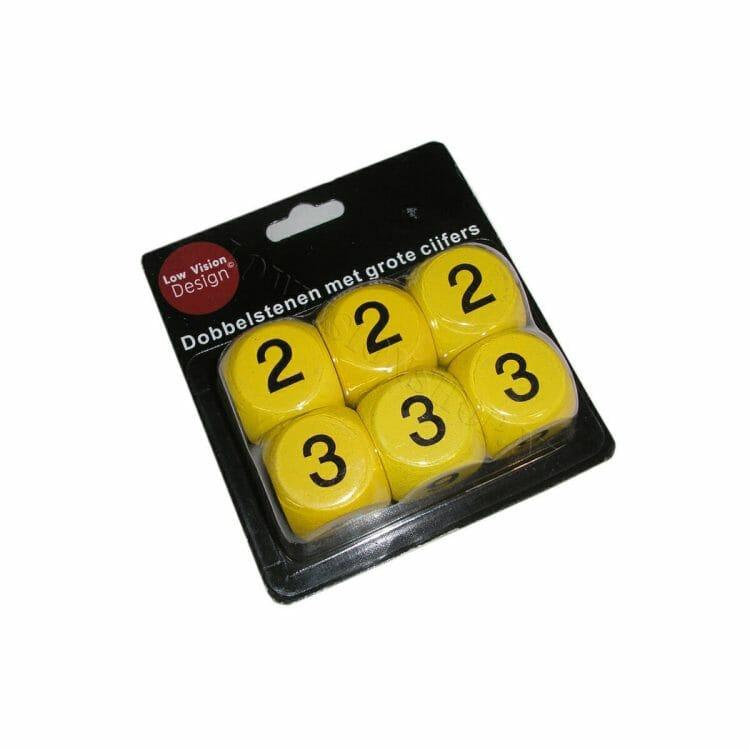 Dobbelstenen met cijfers geel Low Vision Design ST694811